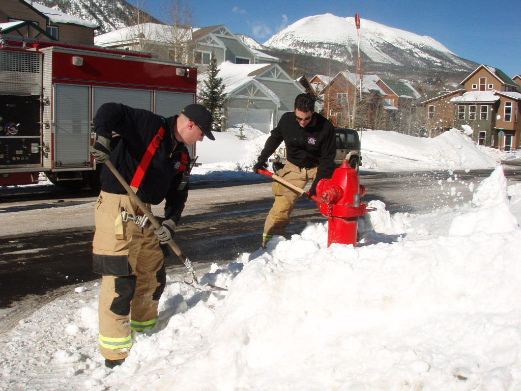 Lake Dillon firefighters Doug Beeler, left, and Lou Laurina dig out a fire hydrant in Frisco this week. Summit County's firefighters appreciate any help in clearing snow from hydrants to ensure easy and quick access in case of a fire. Credit: Lake Dillon Fire-Rescue